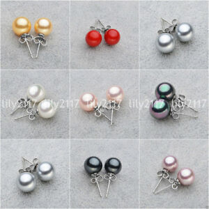 Beauty 8/10/12/14mm South Sea Shell Pearl Round beads 925 Silver Stud Earrings