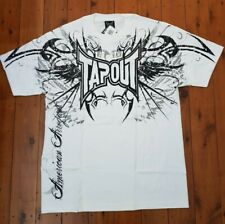 """""""TAPOUT"""" MENS WHITE WITH BLACK PRINT DARKSIDE T-SHIRT - SIZE L"""