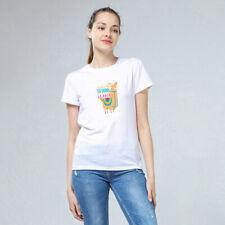 Alpaca T-shirt Women Men Summer O Neck White Plain Tee Tops Blouse Plus Size