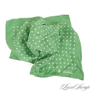 #1 MENSWEAR Brooks Brothers Made Italy Lime Green Pois Spot Silk Pocket Square