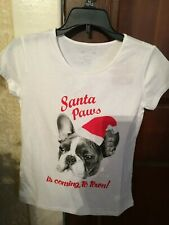 """Nwt Girls Short Sleve Christmas T-Shirt """"Santa Paws is Coming to Town"""" Pug 10/12"""