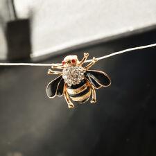 Honeybee Brooch Pin Broach Black Vintage Metal Crystal Rhinestone Insect