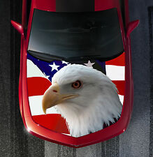 H41 EAGLE AMERICAN FLAG Hood Wrap Wraps Decal Sticker Tint Vinyl Image Graphic
