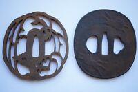 Tsuba Eisen Antik Edo Set x2 aus Kyoto Japan 1115A11G
