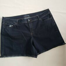 Maurices Womens Plus Size 24 Dark Blue Casual Stretch Jean Shorts