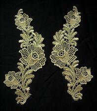 VT425 Mirror Pair Rose Floral Metallic Gold Trim Venise Applique Sewing/Design
