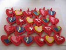 24 sweet wooden mini heart pegs - card making, craft, decoration, scrapbooking