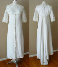 RARE VINTAGE RETRO CUTE TINY SMALL WHITE TRAIN WEDDING DRESS GOWN FORMAL