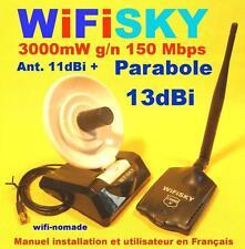 Carte Wifisky 3000 mW g/n 150 Mbps antenne 11dBi + parabole 13 dBi