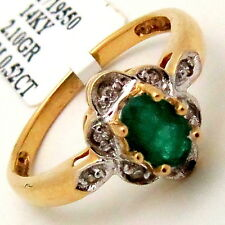 Emerald Oval Gemstone Ring 14K Yellow Gold 0.52TCW 6-prong Solitaire Setting