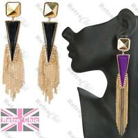 LONG RETRO EARRINGS faceted BIG chain tassle GOLD PL topshop triangle CHANDELIER