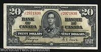 CANADA 20 DOLLARS P-62 1937 KING GEORGE VI WORLD CANADIAN BRITISH MONEY BANKNOTE