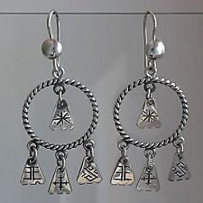 LATVIAN ethnic silver charm EARRINGS from LATVIA