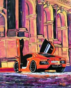 Lamborghini Aventador LARGE ORIGINAL MODERN PAINTING Fine ART Dan Byl Huge 4x5ft