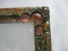 Antique Vintage  WOOD Gesso TRAY w FRUIT Barbola corners and fruit handles