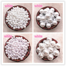 NEW Straight Holes White Ivory Round Imitation Plastic Pearl Spacer Beads