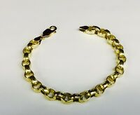 18kt SOLID Yellow Gold Rolo Link Bracelet 8 Inch 19 grams 7 MM