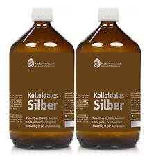 Kolloidales Silber (Silberwasser), 2 Liter (2x 1000ml), 50 ppm, hochkonzentriert