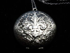 ANTIQUE SILVER FLEUR DE LIS LOCKET  LARGE