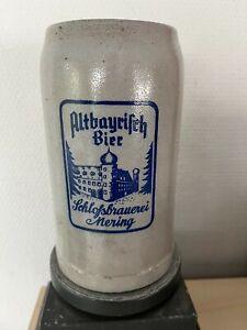 Sehr alter Bierkrug, Masskrug, Schloßbrauerei Mering, Altbayrisch Bier, ca. 1950