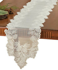 """Woodland Lodge Lace Table Runner Rustic Pine Cones Doily Ivory 72"""" x 14"""""""