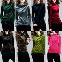 Vintage Shirt Slim Fit Tops Women's Velvet Turtleneck Long Sleeve Blouse Tops N9