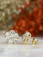 2 Ct Round Cut Diamond Women Cluster Floral Stud Earrings 14K Yellow Gold Finish