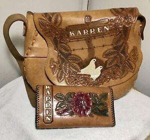 Vtg Tooled Womens Leather Hand Made Cowgirl Horse Western Purse Handbag Karren