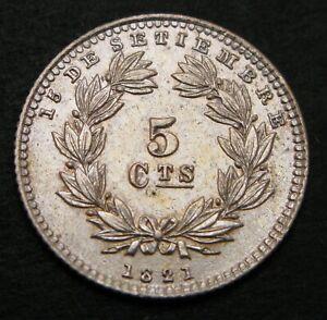 NICARAGUA 5 Centavos 1880 H - Silver - aUNC - 1153