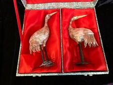 Antique pair chinese mother of pearl veneered storks or cranes 7� silk lined box