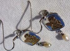 Sterling Silver SE 925 EARRINGS Thinking Baby Angel Cupid Dangle Pearl Pendant