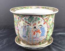 "Large Asian Signed Pot Vase Matching Plate About 9"" Tall People Flowers Design"