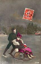 BK733 Carte postale Photo vintage card RPPC couple fantaisie patineur humour fun