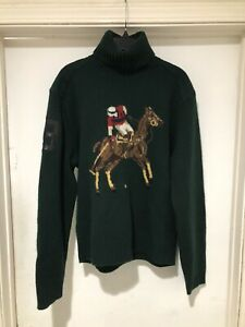 Vintage Polo Ralph Lauren Wool Big Pony Turtleneck Sweater Size L Polo Stadium