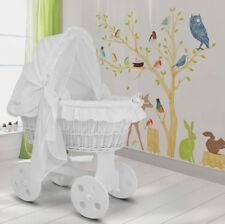 Großer Baby Bollerwagen Stubenwagen Babybett Kinderbett Komplett-Set Weiß NEU!