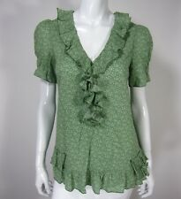 Marc By Marc Jacobs Short Sleeve Cotton Ruffled Blouse TOP Size 6 Green Floral