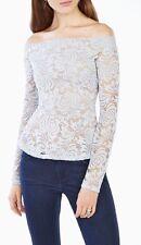 "NEW BCBG Maxazria ""Alea"" Off The Shoulder Lace Peplum Top HAZE BLUE $118 XXS"