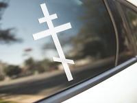 Religious Cross Sticker Car Bumper Decal Christian Jesus God Religion Crucifix