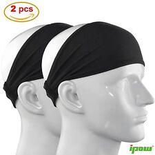 **IPOW 2 Pack Men Women Elastic Sports Headband Wide Hair Band Yoga Head Wrap BL
