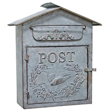 Vintage Look Galvanized METAL BIRDHOUSE MAILBOX Embossed Shabby Chic Primitive