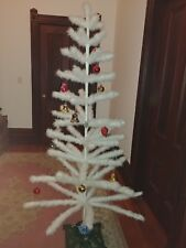 """Antique White German? 72"""" Christmas Goose Feather Tree w Berries & ornaments"""