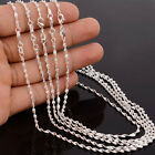 925 Sterling Silver Plated Water Waves Chain Necklace for Jewelry Charms 16-30""