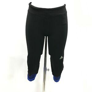 Adidas Leggings Size M UK 12-14 Mid Rise Style Cropped Black Blue Sport 482901