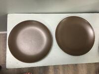 "Set of 2 IKEA OF SWEDEN 219 63 BROWN Matte STONEWARE 8 3/4"" Salad Plates"