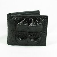 New Genuine Crocodile Alligator Leather Horn Back Skin Mens Bi-fold Black Wallet