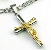 Titanium steel Gold Silver Jesus cross pendant & Stainless Figaro necklace chain