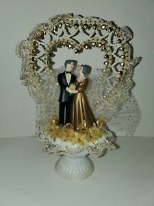 Vintage 1980s Wedding Cake Topper Retro Decor Tulle Bride Groom Figurine Gold
