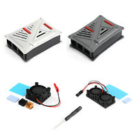 ABS Plastic Case Project Shell W/Cooling Fan Heat sink For Raspberry Pi 4B Gray