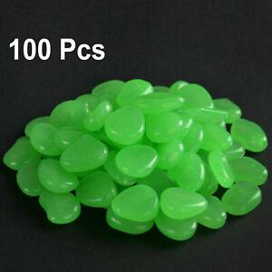 100PCS Glow In The Dark Luminous Pebbles Stones Garden Aquarium Fish Tank Green