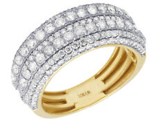 Mens 10K Yellow Gold Multi Row Diamond Engagement Wedding Ring Band 2 3/5CT